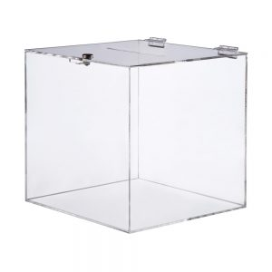 Urna con cerradura en acrílico transparente