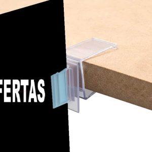 Pinza con función de plegado para estantes de hasta 19 mm de grosor y stopper saliente